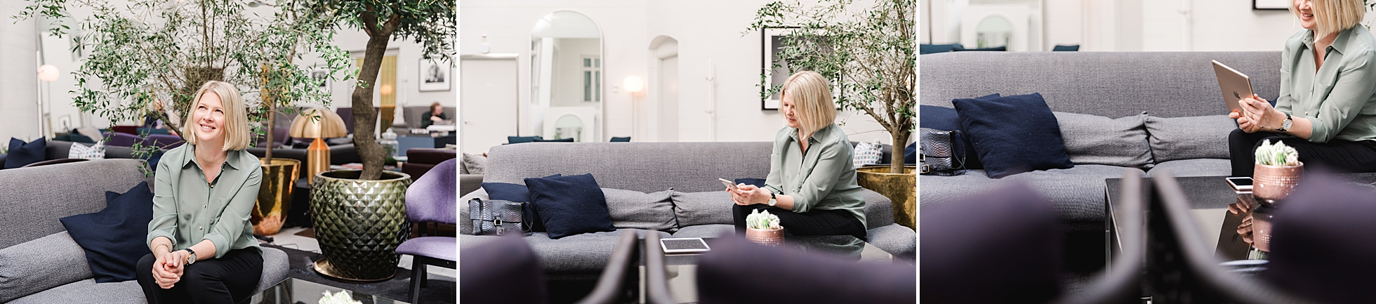 A female entrepreneur sitting in a hotel lounge in Stockholm