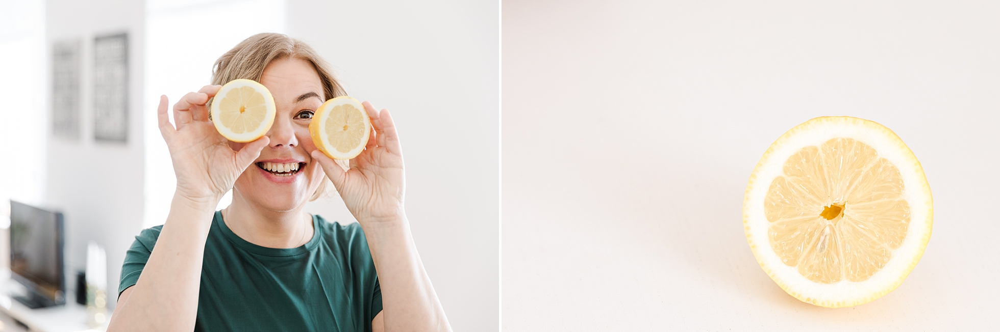 A woman holding up a lemon and smiling