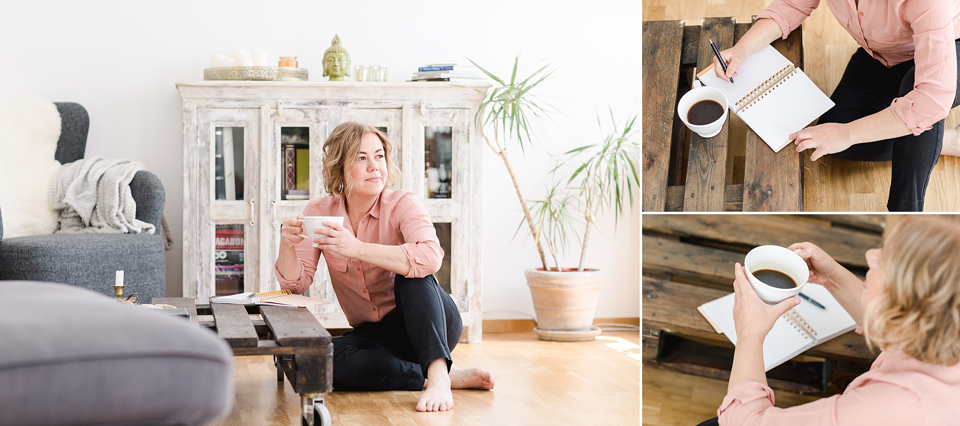 The owner of Urban Paleo sitting with her coffee and gratitude journal